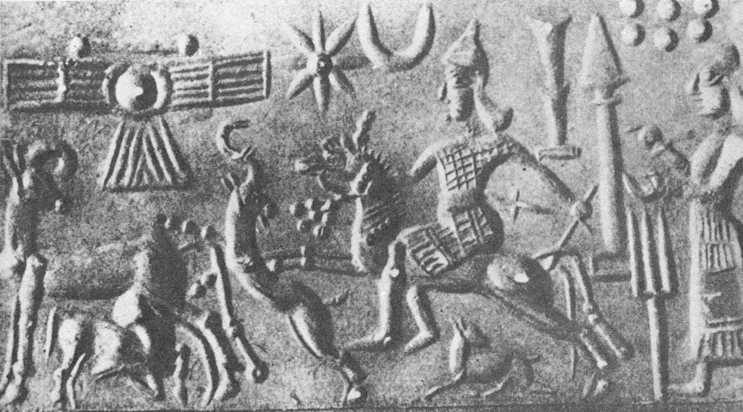 1a - Inanna on horseback making a charge