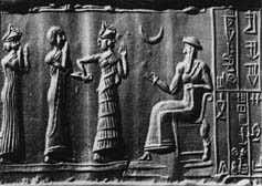 1a - goddess Ninsun, giant mixed-breed son Shulgi, goddess-spouse Inanna, & Inanna's father Nannar on throne of Ur, Nannar, the giant alien god of Ur, was identified to all Mesopotamians for thousands of years as god of the moon crescent, artefacts depicting so are found in Iraq, Syria, Turkey, Iran, etc.