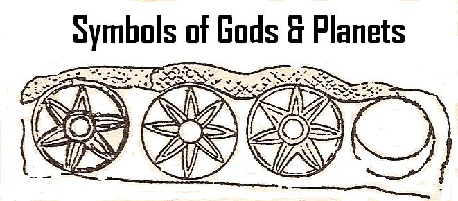 1a - symbols of gods & planets, Nabu's 6-pointed star of Mars, Anu - Inanna's 8-pointed star of Venus, Enlil's 7-pointed star of Earth, & Enki's moon eclipse symbols