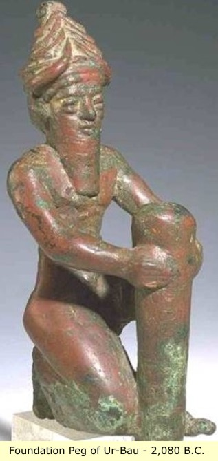 1b - Ningishzidda, Lagash King Ur-Bau's Foundation Peg 2,080 B.C., Ninagal's mixed-breed son, was directed by the gods to repair & update their temples / houses across Sumer, a time when the gods appointed their mixed-breed offspring to positions of power over the earthlings, they became kings, high-priests, priestesses, etc., artefacts of the giant alien gods are being destroyed by Radical Islam trying to eliminate all contradictory evidencial artefacts to the teachings of their prophet
