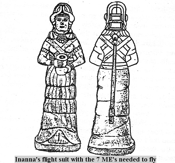 1bb - Inanna dressed in flight suit with the 7 ME's, visible on Inanna's back is her oxygen hose for high altitudes of flight, technologies that early earthlings could never have understood, thankfully they recorded what they saw of the gods the best way they could, & did so on rock to last throughout the ages