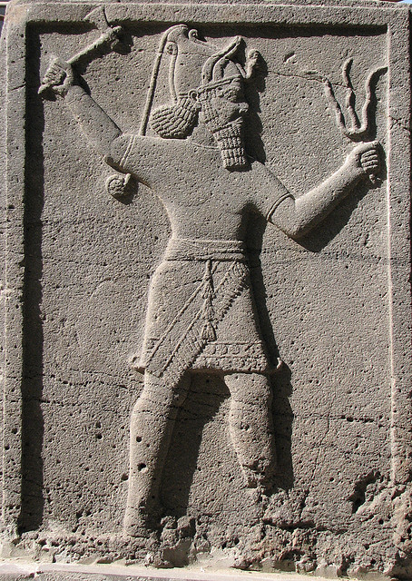 1e - Adad with divine alien weapons, who was on Enlil's side of Anu's descendants, who battled time & time again, against their cousins on the Enki side of Anu's descendants