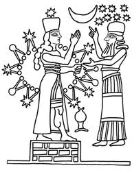 1e - Inanna & her grandfather Enlil, the Earth Colony Commander & heir to King Anu, goddess Inanna & her 8-pointed star symbol above & all around her