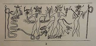 1e - the serpent god Ninagal & his brother Ningishzidda, knowledgeable DNA scientist, unravels the DNA of the earthlings, holding the Zodiac symbol of Scorpio