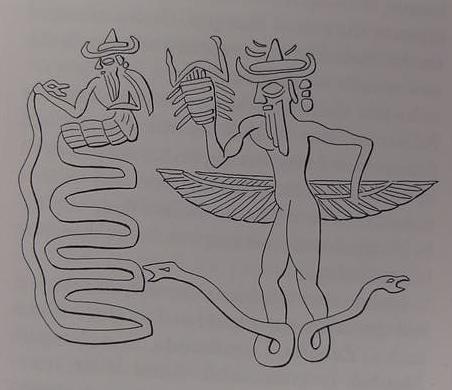 1f - Enki, Ningishzidda, & entwined serpants, Enki & Ningishzidda unravel DNA codes, attempting to find a suitable worker that will take orders from the gods