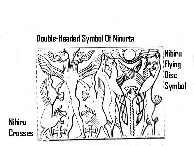 1f - Ninurta's symbol & flying disc symbol of planet Nibiru, when the alien sons of god(s) came down from Heaven & walked, talked, & ate with mixed-breed modern mankind on Earth Colony