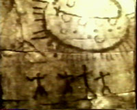 1f - 5,000 B.C. pertoglyph artefact from Querato, Mexico, early man recorded the gods with strange flying capsules / discs / chariots / boats / carpets, etc., without understanding the technologies of the alien gods