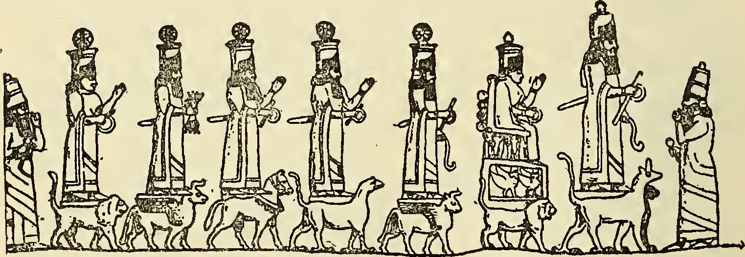 1f - procession of the gods, Anu's royal family of giant alien gods on Earth Colony, standing upon their individual symbols, zodiac symbols, etc., a time in our long forgotten past, when the sons of god(s) came down from Heaven & walked with earthlings