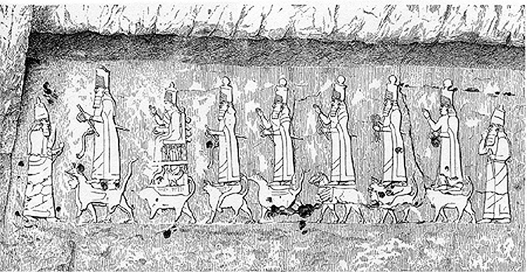 1h - relief at Maltaya, Anu & his royal family of gods & goddesses standing upon animal symbols of zodiac signs, etc.