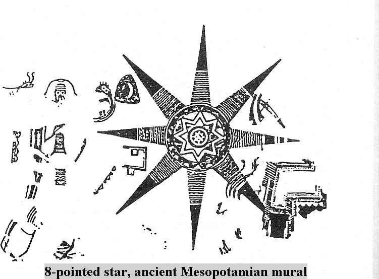 1h - ancient Mesopotamian mural, 8-pointed star symbol of Anu, god figure standing inside a shem on the left of star
