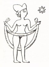 1j - Inanna the Goddess of Love with her 8-pointed star, symbolizing Venus the Planet of Love