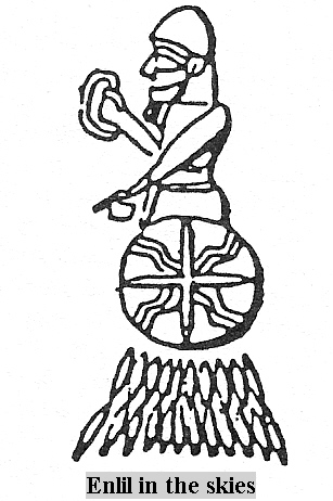 2 - Enlil traveling to Nippar, Anu's 8-pointed star symbol on Enlil's flying disc with Enlil as pilot