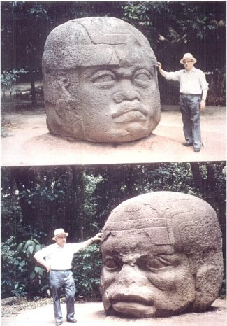 2 - Zecharia Sitchin with Ancient Olmec heads, Olmec's are black Africans shipped to the Yucatan by Ningishzidda, 1st humans to inhabit So. America as dislpayed by Sitchin in Mexico City Museum