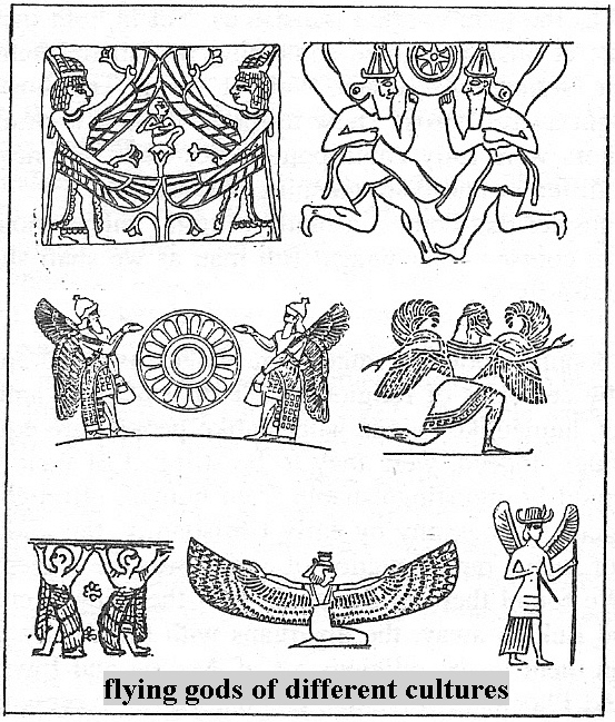 2 - winged gods of different cultures, god images with wings, man's way of drawing alien beings that pilot flying machines