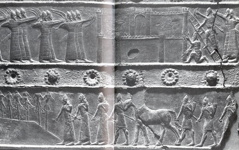 21i - Assyrian artefact of King Assurbanipal's wars, bottom left depicts the impalement of several captives lining the roads, later Romans lined the roads with crucified captives, everything we ever know or knew about war, torture, & enslavement, was learned by earthlings long ago from the giant alien gods on Earth Colony, earthling life was cheap