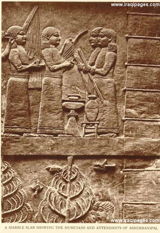 21o - Assyrian artefact from the reign of King Ashurbanipal, music was taught to earthlings 1st in Sumer, Mesopotamia is were the beginnings began for earthlings, who were fashioned from a creature found on Earth, modified several times over thousands of years, finally fit & able to do the work of the gods, nothing is new today that hasn't been taught mankind by the giant alien gods of old