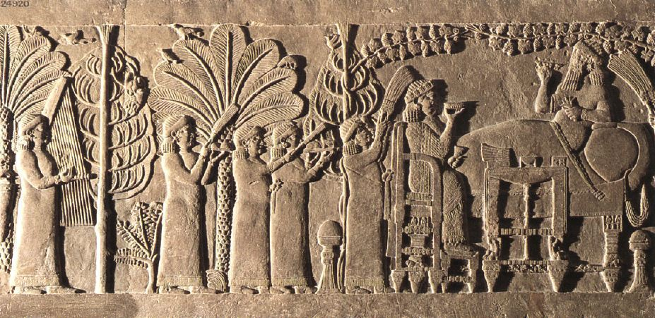 21p - Assyrian artefact of King Assurbanipal, queen, & many female assistants feasting in 7th century B.C. Nineveh, the city that Biblical Jonah resisted Yahweh from going to preach, Jonah was swallowed by a whale - underwater craft of the gods, & spit out days later on the shore of Nineveh, the capitol city of the Assyrians under the giant alien god Ashur