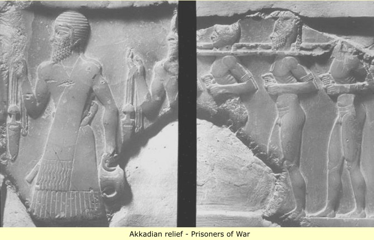 22 - Akkadian artefact of soldiers touting enemy prisoners of war, the way wars were conducted, the way the cities were pillaged, the way captured women & children were treated, etc., etc., all by the commands of the gods, SEE KINGS TEXTS ON EACH PAGE OF GODS, OR THE 5 BOOKS OF MOSES