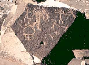 22 - Toro Muerto, Peru - 12,000-10,000 B.C., star-people on ancient rock carvings, similar carvings are found all over the world