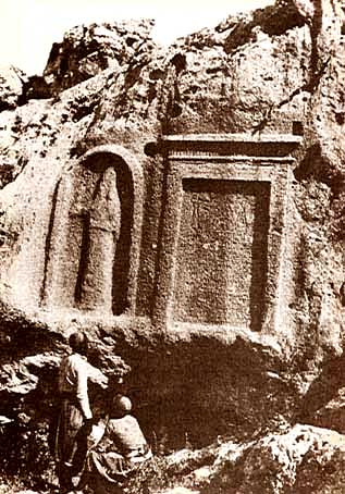 22l - Assyrian artefact of Assyrian King Esarhaddon of 681 - 669 B.C. sealed tomb, cuneiform script of his deeds & image carved on the side of a mountain for all time, for all earthlings to see, that is until Christians of old, & Radical Islam of today, destroyed artefacts of the gods & giant mixed-breed kings, because they are evidence of direct contradictions to their belief systems