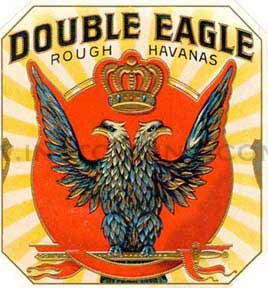 27 - Double-Headed Eagle Cigar Band, Mason owned company, Masons keep these Mesopotamian symbols of giant alien gods & mixed-breed earthlings current, hiding them in plain sight in governments, art, architecture, corp. logos, etc.