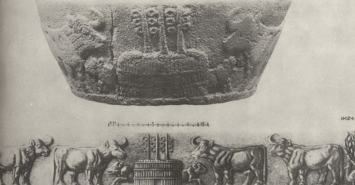 27 - basin-shaped vessel depicting cows from Nannar's cattle pens in his great metropolis of Ur, a temple building with communication antennas on top, technologies of the giant alien gods long ago