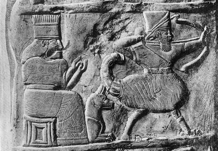 2a - Bau, her guard dog, & spouse Ninurta, scene from the ancient past found on Bau's boundary stone, used to mark zones of the gods, & their earthling kings doing the work for them Ninurta
