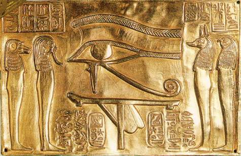 2a - Egyptian golden eye of Horus, Marduk's grandson, Horus avenged his father's murderer, uncle Seth, Horus lost an eye in their battle to the death, then their faces were changed to those of animals, hiding defects from age & battle