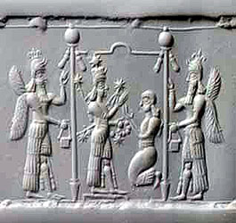 2a - Goddess of Love & War Inanna, putting on her battle dress, & her assistant goddess Ninshubur, SEE NINSHUBUR TEXTS ON THIS PAGE