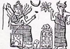 4a - Inanna seated on her throne in Uruk, with her foot upon a lion cub, depicting the early arrival of Leo the Lion, symbol of her zodiac house, & the goddess Ninsun, Ninsun's mixed-breed son missing, Inanna & her 8-pointed star symbol of Venus, also her father Nannar's moon crescent symbol
