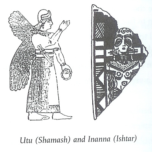 2a - twin alien giant Mesopotamian goddess Inanna depicted with wings, or flight-dress for piloting the skys