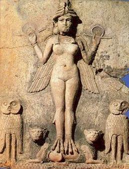 2a - Inanna with wings, depicting her ability to pilot her sky-ship, skilled in combat, Goddess of Love, daughter to Nannar & Ningal, the patron gods of Ur, naked Inanna has been carved into rock for thousands of years, & in many different scenes of our long forgotten past