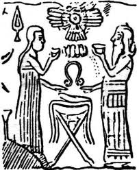 2b - Ninhursag & Enki in lab, Ninhursag & Enki share the DNA experiments, both holding onto clay dishes for the DNA ad-mixture, creating mixed-breed workers, & using the umbilical chord cutter