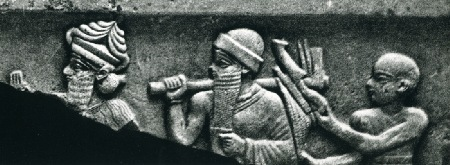 2ba - Enlil leads giant mixed-breed King Ur-Nammu to repair his home in Nippur, a high-ptiest tags along, workers for the gods, Mesopotamian artefacts of the giant alien gods & of giant mixed-breed kings, are being destroyed by Radical Islam, attempting to eradicate historical evidence contradictory to the teachings of their prophet