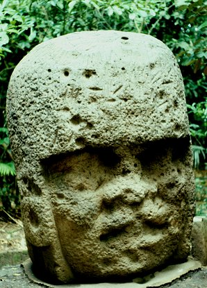 2c - Olmec head artefact, possibly a king's head, hundreds of Olmec heads have been discovered so far, kings carved in succession, Olmec's are black Africans shipped to the Yucatan by Ningishzidda due to his expulsion from Egypt by his brother Marduk, the 1st earthlings to inhabit So. America, as dislpayed by Sitchin in the Mexico City Museum