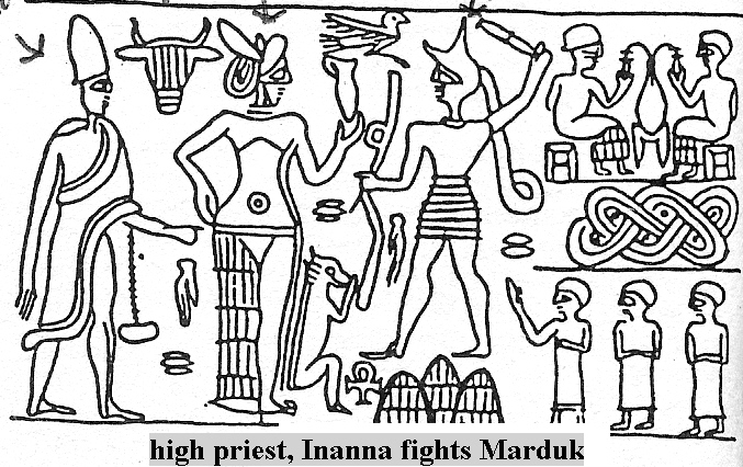 2d - Inanna, the Goddess of Love & the Goddess of War, her demands were usually met in full, she was quick & eager to use force, she battled Marduk & his sons Ashur & Nabu, the 2nd & 3rd generations of the giant alien gods born on Earth Colony, wanted their own territories, & earthlings beneath them to carry out the wishes of the younger giant alien gods