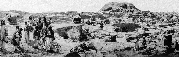 2d - Kish 1926 excavation with Ninhursag's house / brick-built mountain in the background, hundreds of artefacts discovered & placed into museums, artefacts are being destroyed by Radical Islamists, attempting to eliminate all ancient knowledge that may be contradictory to their beliefs