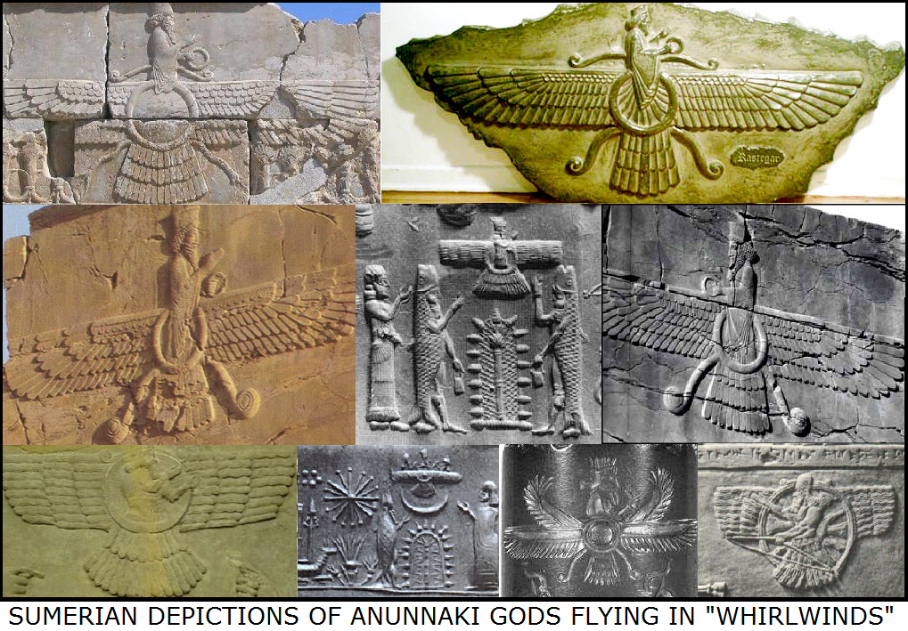 2d - giant alien flying winged gods of Sumer, Mesopotamia, Anunnaki giant aliens from another world colonize the Earth as their new discovery of rare resources on Earth, desired by those from Nibiru, SEE PLANET NIBIRU PAGE