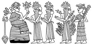 """2e - Nisaba, 2 unidentified gods, spouse Haia, & daughter Ninlil, Nisaba feeding her family & all the gods, working hard until """"modern man"""" is created to do the work for the gods"""