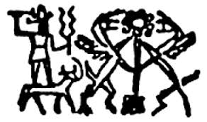 2f - Adad atop Taurus the bull, a symbol of his, many gods also have zodiac symbols, EX: Marduk & Aires the Ram, etc.