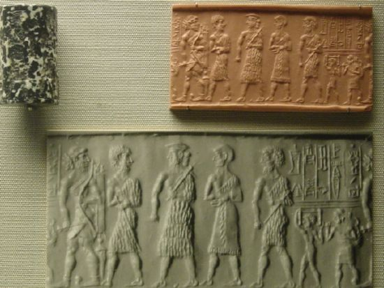 2i - Sargon's descendants & others, wet clay imprint of Sargon's extended family, Mesopotamia artefacts are shamefully being destroyed by Radical Islam, seeking to eliminate any ancient history contradictory to the 7th century teachings of their prophet