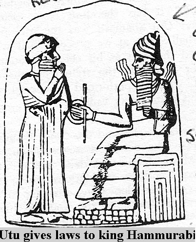 2i - Utu gives the laws to King Hammurabi, who has the people be enforced by them, Utu, the Babylonian sun god, later he inherits his father Nannar's moon crescent symbol, which is the prominant symbol of Islam, shamefully, unbelieveably, artefacts like this are being destroyed by Radical Islam