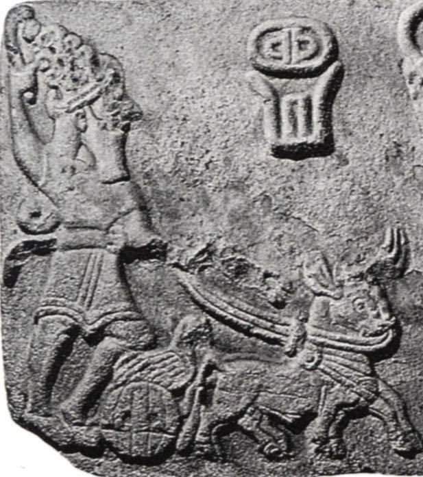 2j - Teshub in his sky-chariot pulled by Zodiac symbol Taurus, the god known by many civilizations as a thunder god, living in the skies with his alien high-tech terrible weapons, deadly to ancient man, a destroyer god