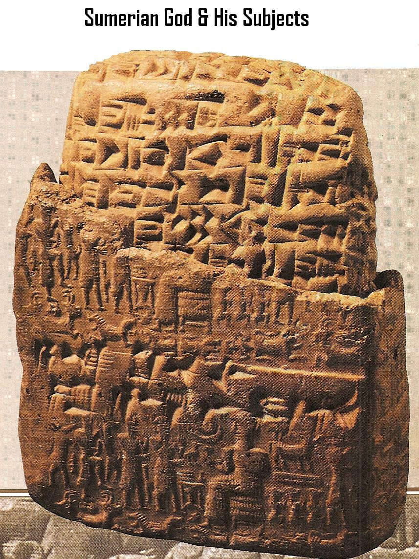 2j - cuneiform script, a Sumerian scene, & Nannar's moon crescent, ancient artefacts of the gods & giant kings are shamefully being destroyed by Radical Islam, attempting to eliminate historical evidence of our past contradictory to the 7th century teachings of their prophet