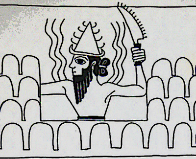 """Utu sawing off mountain tops used by the gods as landing strips, zones for the gods & forbidden to earthlings, Utu many times depicted shaping mountain tops, the """"mountains of the gods"""", later earthlings were invited up such mountain tops, the Biblical heroes Abraham & Moses, the mountains acted as a berier to earthlings getting in their way, today the gods use the deep seas, insides of mountains, underground compounds, the skys, the dark side of the moon, Mars, etc., again out of the way of earthlings"""