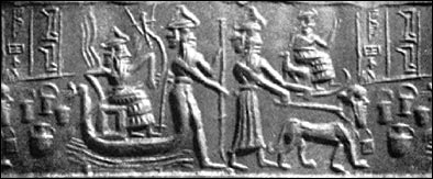 2m - Enlil, Nusku, Ninurta, & Bau seated with guard dog, Enlil the son & heir to Anu, & Earth's Commander in Chief, had Enki's side of the family work the mines while his side settled the gardens of Eden in Sumer
