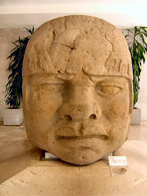 2m - Olmec head artefact, possibly a king's head, hundreds of Olmec heads have been discovered so far, kings carved in succession, Olmec's are black Africans shipped to the Yucatan by Ningishzidda due to his expulsion from Egypt by his brother Marduk, the 1st earthlings to inhabit So. America, as dislpayed by Sitchin in the Mexico City Museum