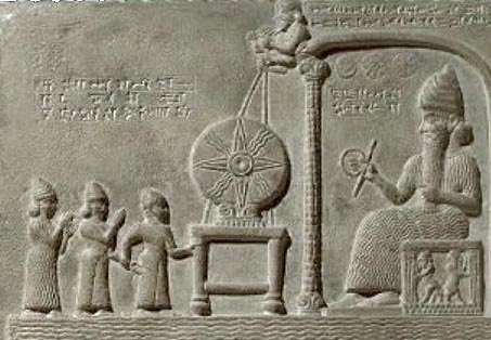 2o - Law Code of Ur-Nammu artefact - mixed-breed giant king Ur-Nammu being brought before Utu, Nannar's son, by mother goddess Ninsun & spouse goddess Inanna, while an unidentified god turns the grinding wheel of justice from above, mixed-breeds inter-married with gods or other mixed-breeds only, preserving their advantages, like longer life, for their descendants, (EX: longer lives of 20 generations, from Adam down to Abraham, all inter-marrying sisters, 1/2 sisters, or 1st cousins), & each living hundreds & hundreds of years