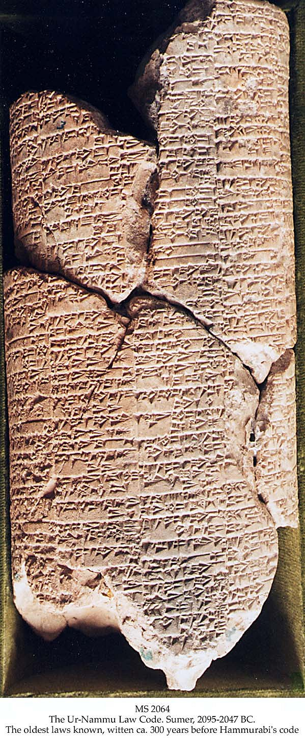 2p - Ur-Nammu Law Code, 300 yrs before Hammurabi's, giant alien god Utu gives the laws to be enforced by Ur-Nammu, giant mixed-breeds had no problem being appointed to positions of power, they were equipped with advantages, bigger, stronger, smarter, &  lived longer, etc., etc. than earthlings, & they were well protected in battle or not, by the gods