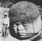 2r - Olmec head artefact, possibly a king's head, hundreds of Olmec heads have been discovered so far, kings carved in succession, Olmec's are black Africans shipped to the Yucatan by Ningishzidda due to his expulsion from Egypt by his brother Marduk, the 1st earthlings to inhabit So. America, as dislpayed by Sitchin in the Mexico City Museum